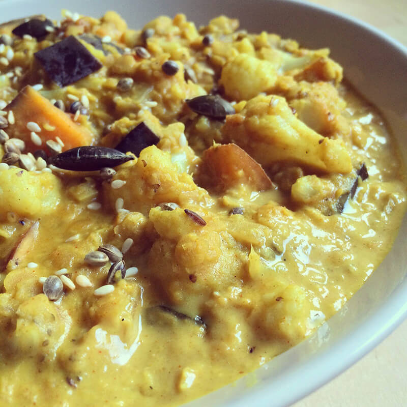curry pois chiche petits pois noisettes