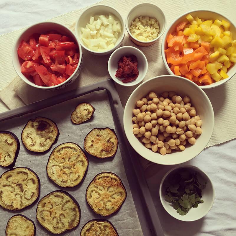 Moussaka vegan aux pois chiche