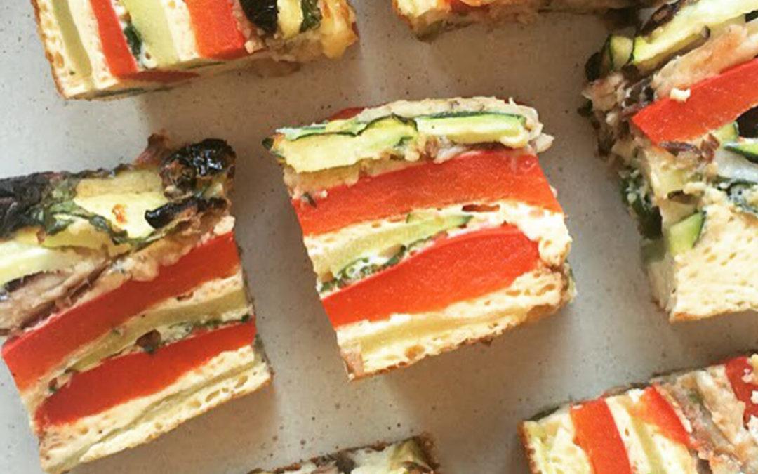 Cubes d'omelette aux sardines & légumes