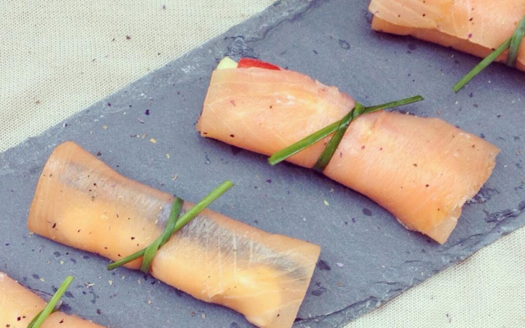 Roulades de saumon fumé aux légumes