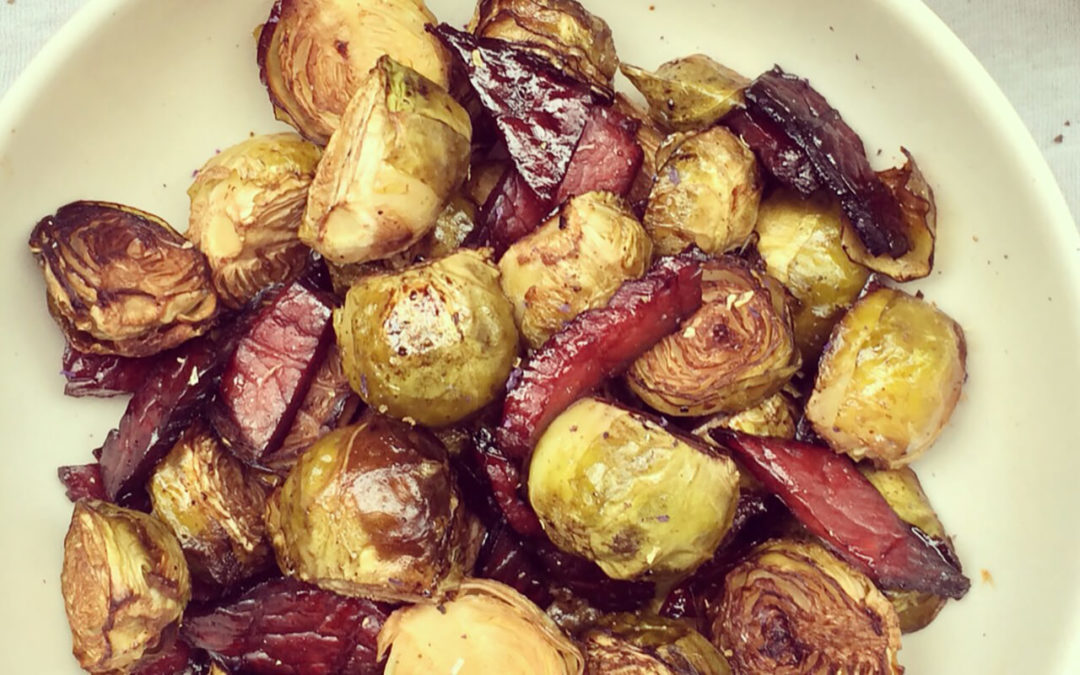 Choux de Bruxelles & beef Jerky rôtis au vinaigre balsamique