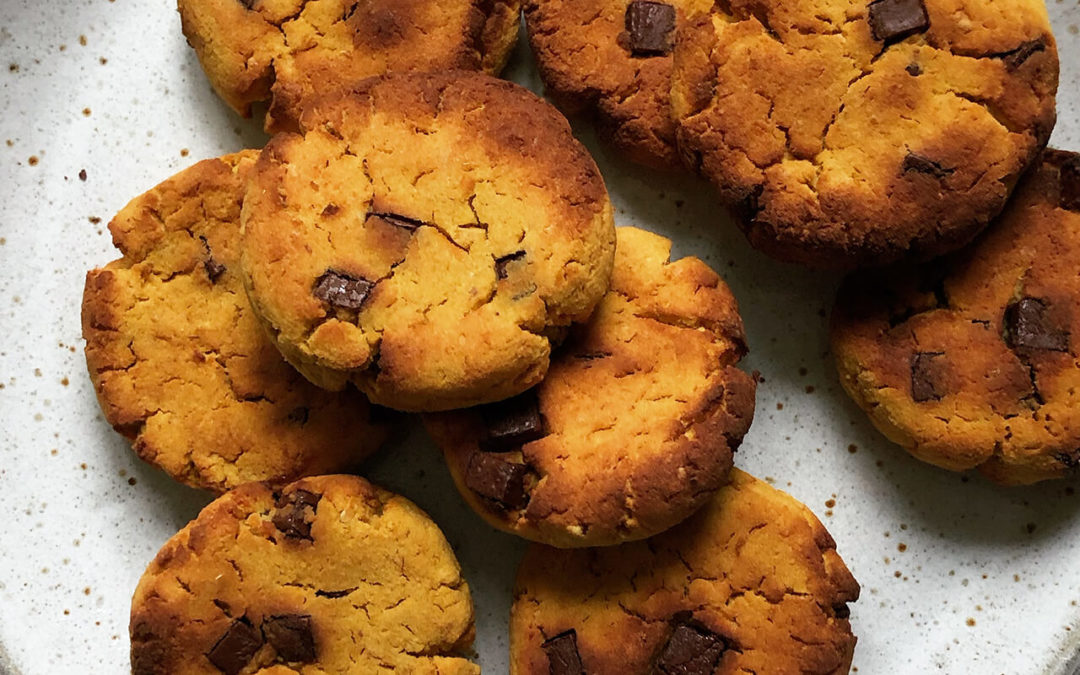 Cookies pois chiche & courge aux pépites de chocolat