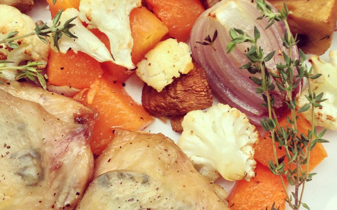 Courge, champignons, chou-fleur & poulet grillés