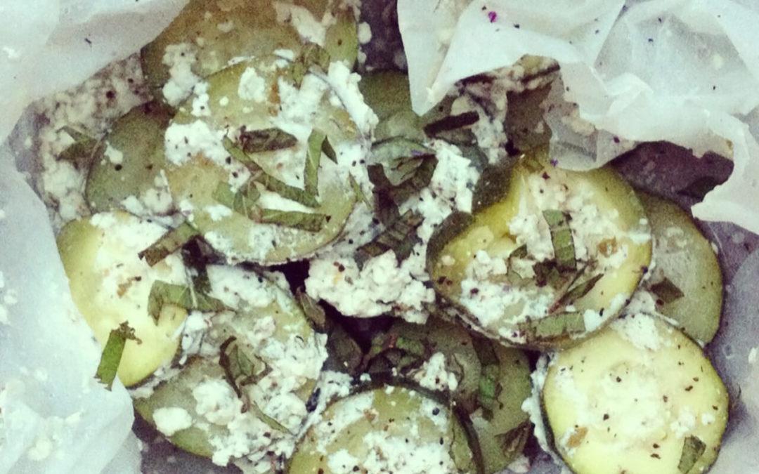 Courgettes vapeur menthe & fromage frais