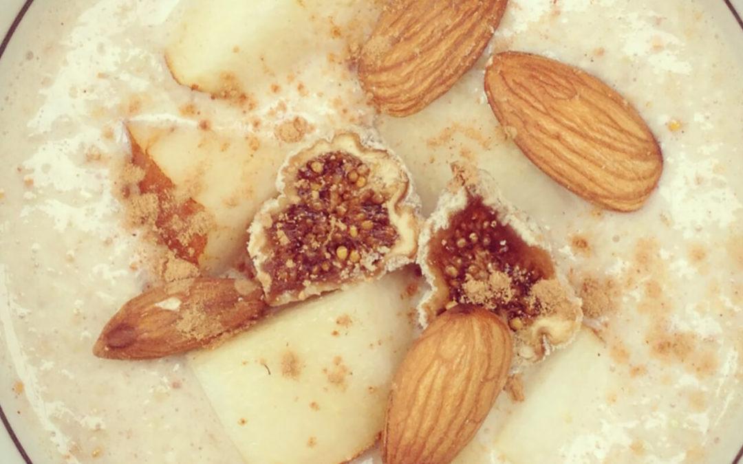 Crème de sarrasin aux poires, amandes & figues