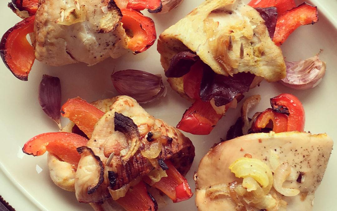 Dinde farcies aux poivrons, oignons rouges & viande séchée
