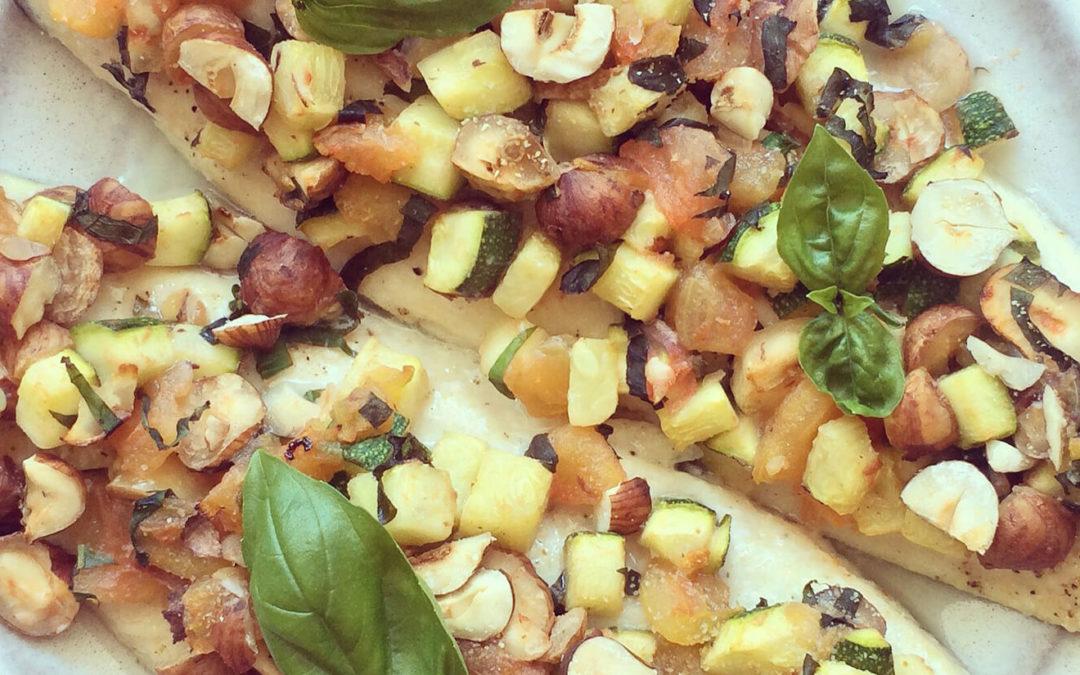 Filets de truite aux légumes & noisettes