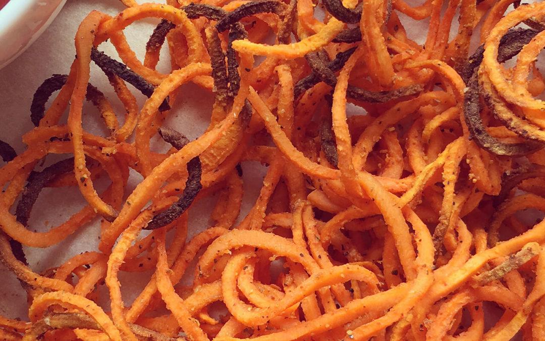 Frites bouclées de patates douces