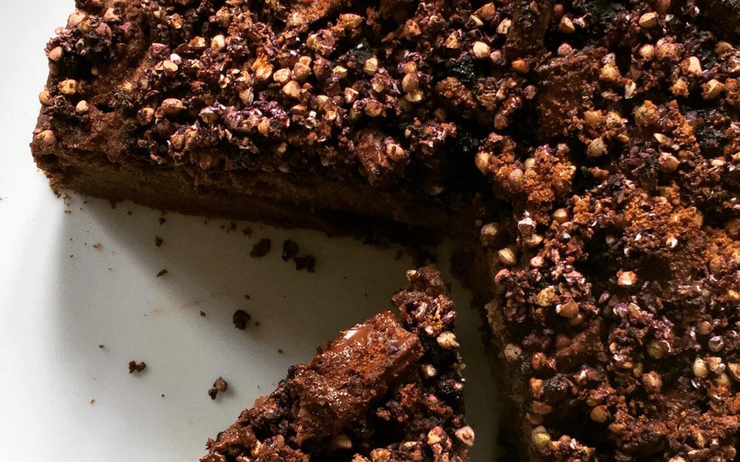Gâteau chocolat & café avec streusel aux myrtilles