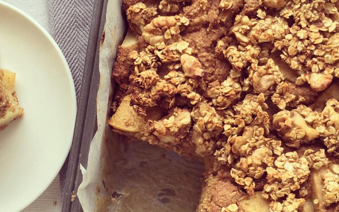 Gâteau-crumble aux pommes & aux noix
