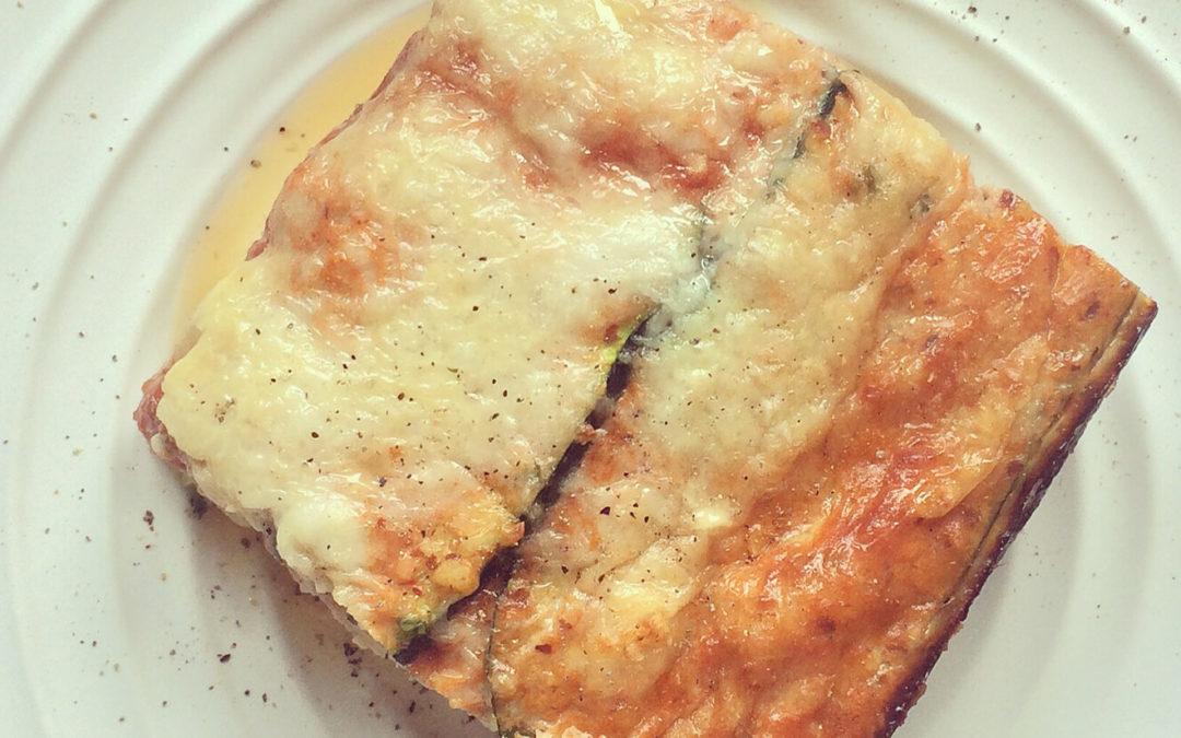 Lasagnes de courgettes aux oeufs, tomates & chèvre