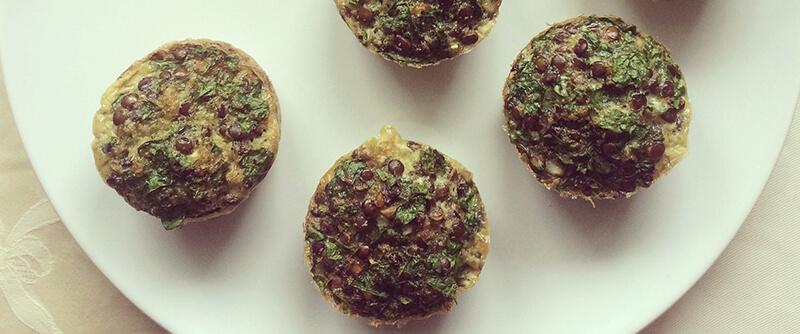 Muffins de lentilles aux épinards