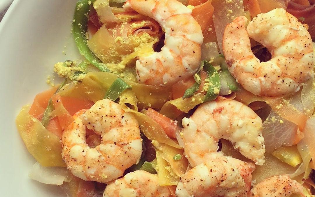 Nouilles de légumes aux crevettes
