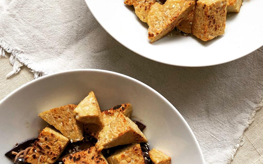 Nouilles soba au chou rouge & tempeh grillé