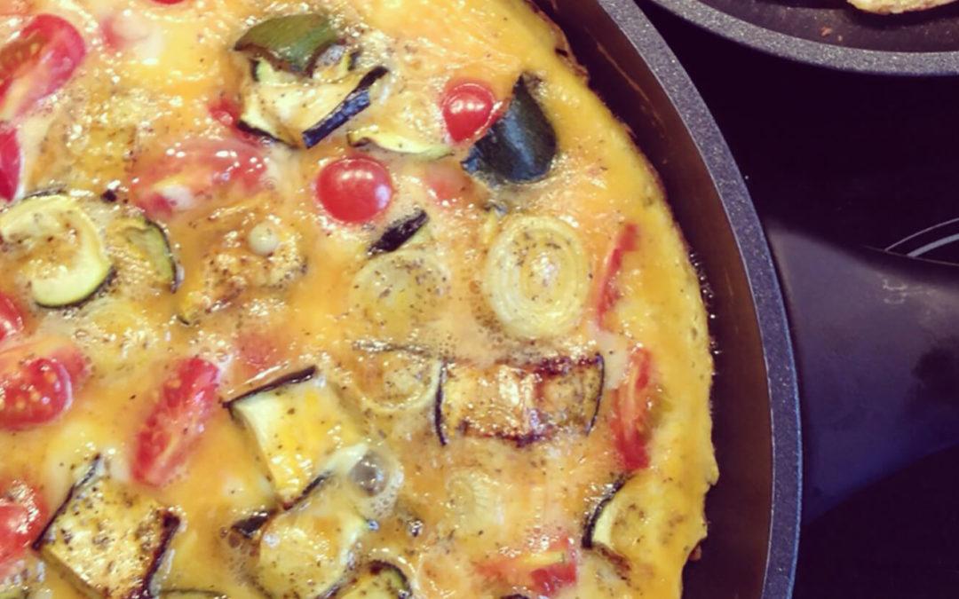 Omelette aux légumes rôtis