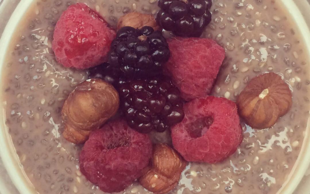 Porridge protéiné de chia au chocolat