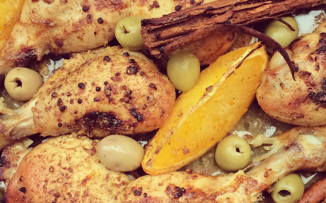 Poulet cannelle & orange aux olives vertes