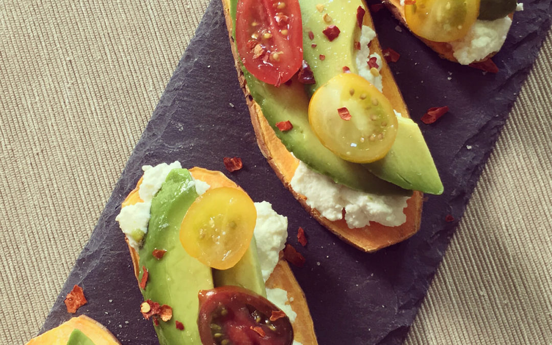 Tartines de patate douce à l'avocat