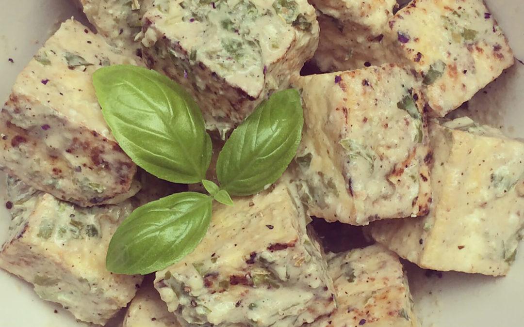 Tofu citron & tahini au basilic
